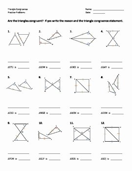 Triangle Congruence Worksheet Answers Beautiful Triangle Congruence Worksheet Practice Problems by Dr