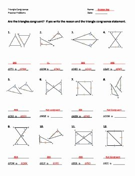 Triangle Congruence Worksheet Answers Fresh Triangle Congruence Worksheet Practice Problems by Dr