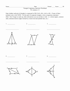 Triangle Congruence Worksheet Answers Inspirational Algebra Studyres
