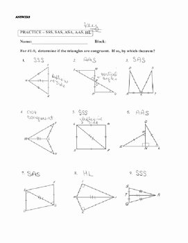 Triangle Congruence Worksheet Pdf Best Of Geometry Unit 8 Congruent Triangles Sss Sas asa Aas Hl