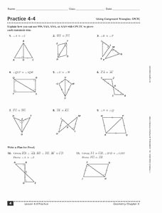 Triangle Congruence Worksheet Pdf Unique Practice 4 4 Using Congruent Triangles 9th 11th Grade