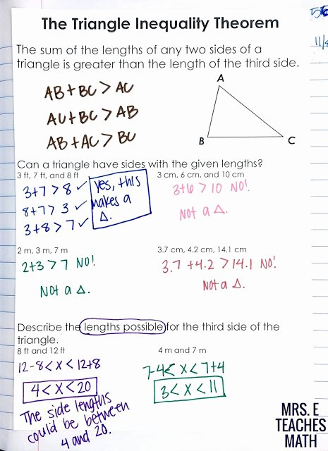 Triangle Inequality theorem Worksheet Beautiful Relationships In Triangles Inb Pages
