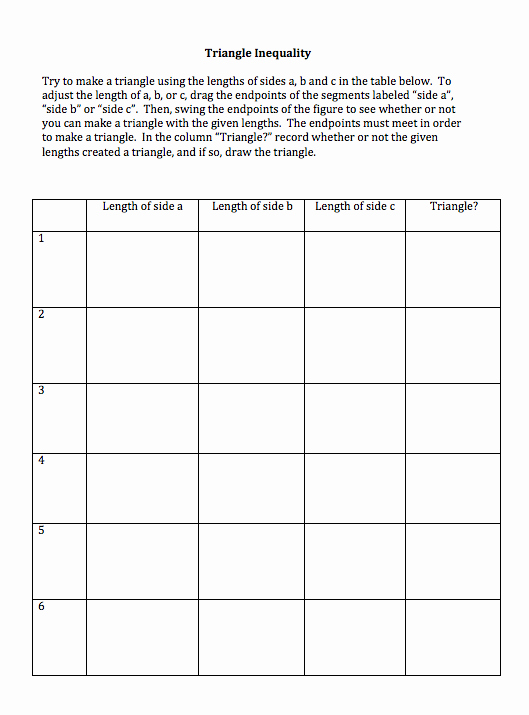 Triangle Inequality theorem Worksheet Lovely Untitled Document [jwilsonea]
