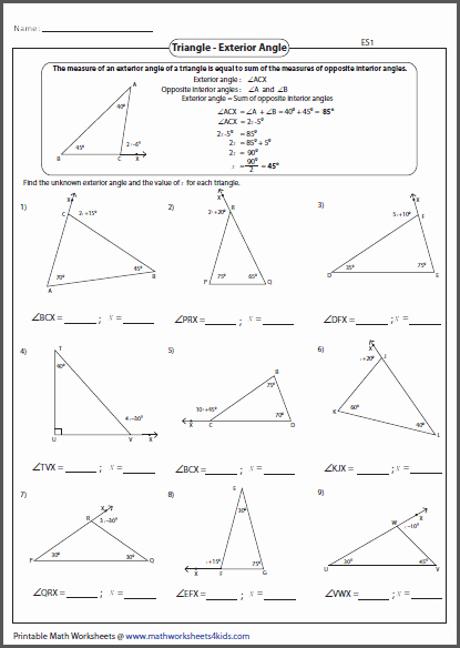 Triangle Interior Angles Worksheet Answers Beautiful Triangles Worksheets