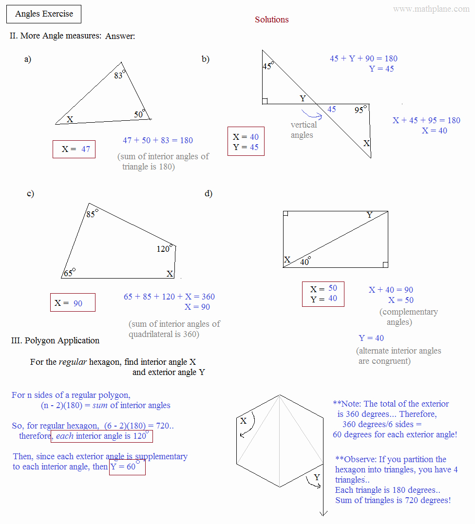 Triangle Interior Angles Worksheet Answers Elegant Math Plane Angles and Triangles Exercise