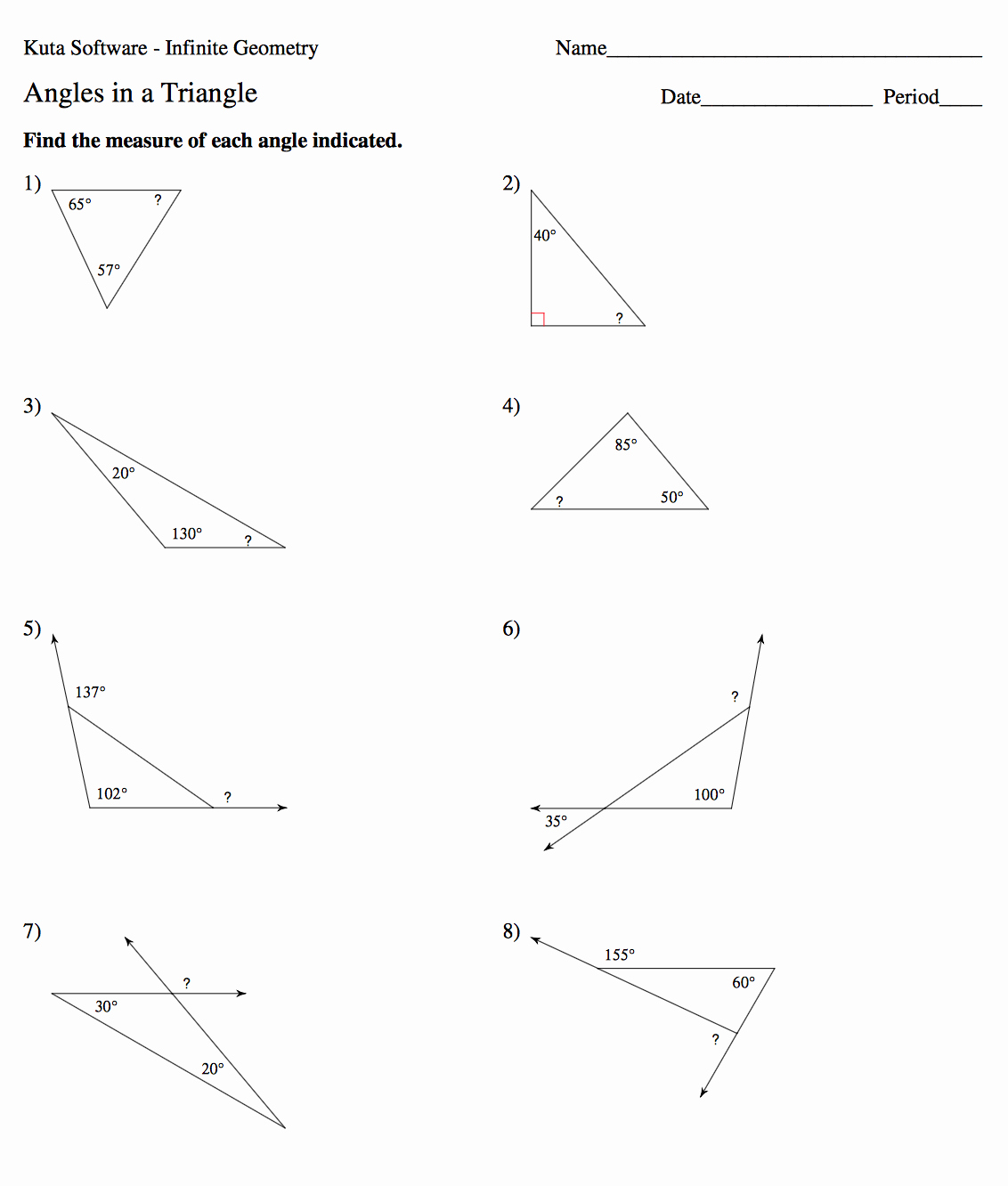 Triangle Interior Angles Worksheet Answers Fresh Geometry Mrs Murk S Math Class
