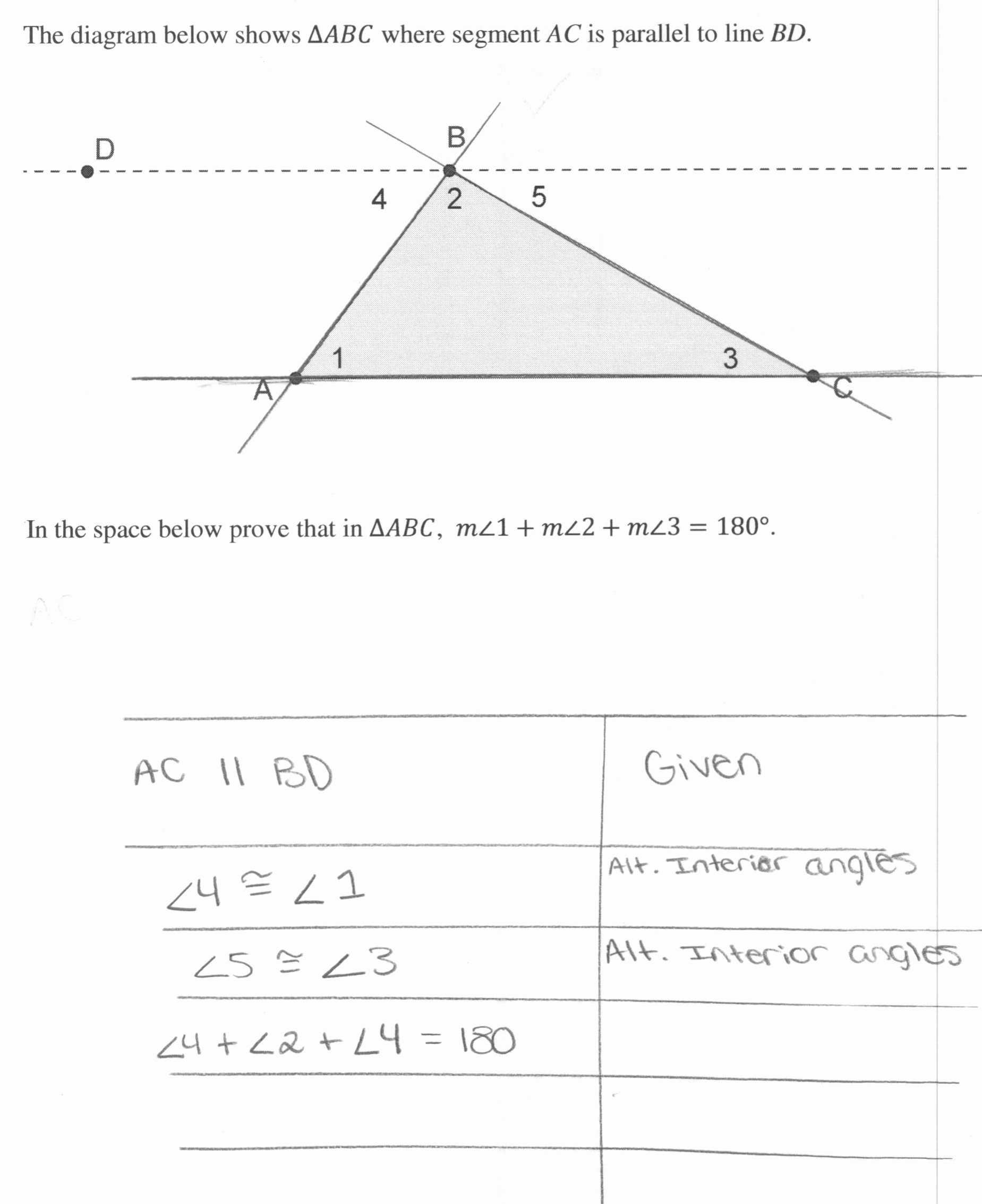 Triangle Interior Angles Worksheet Answers Fresh Triangle Sum Proof