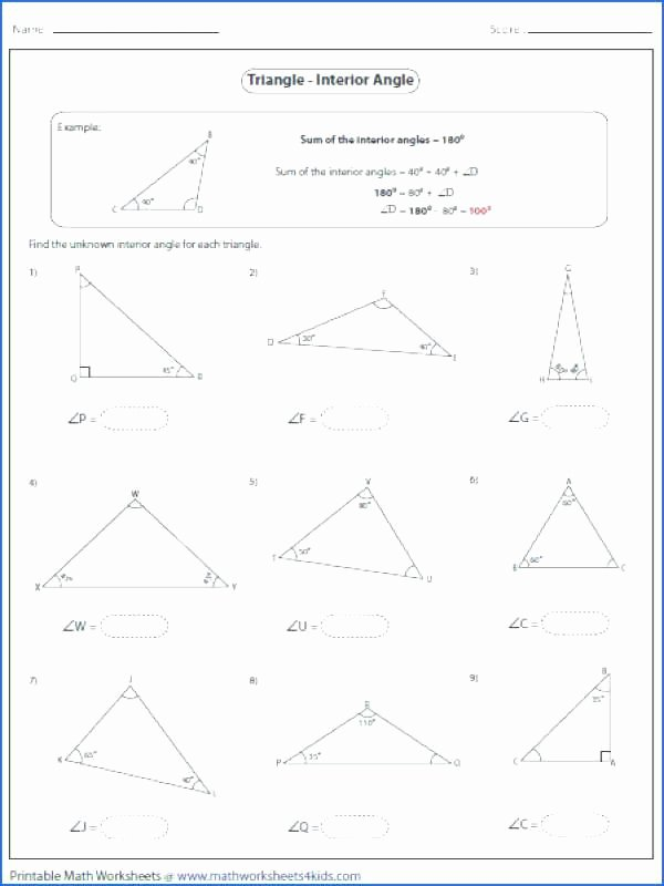Triangle Interior Angles Worksheet Answers Inspirational Worksheet Triangle Sum and Exterior Angle theorem