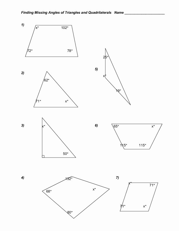 Triangle Interior Angles Worksheet Answers Lovely Finding Missing Angles Of Triangles and Quadrilaterals
