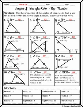 Triangle Interior Angles Worksheet Answers Lovely Triangles Angles Of Triangles Color by Number Wintery