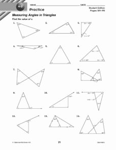 Triangle Interior Angles Worksheet Answers New Measuring Angles In Triangles 10th Grade Worksheet