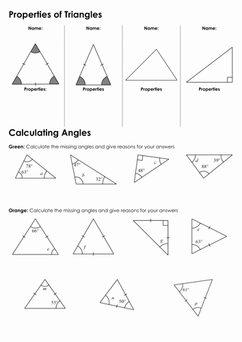 Triangle Interior Angles Worksheet Answers Unique Ks3 Angles In Triangles by Fintansgirl Teaching