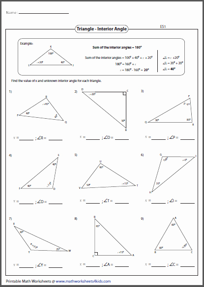 Triangle Interior Angles Worksheet Answers Unique Triangles Worksheets