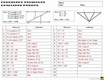 Triangle Proofs Worksheet Answers Unique Congruent Triangles Proofs Two Column Proof Practice and