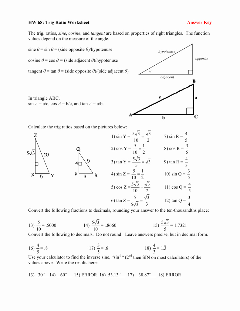 Trig Identities Worksheet with Answers Awesome Trig Ratio Worksheet Answer Key the Trig Ratios Sine