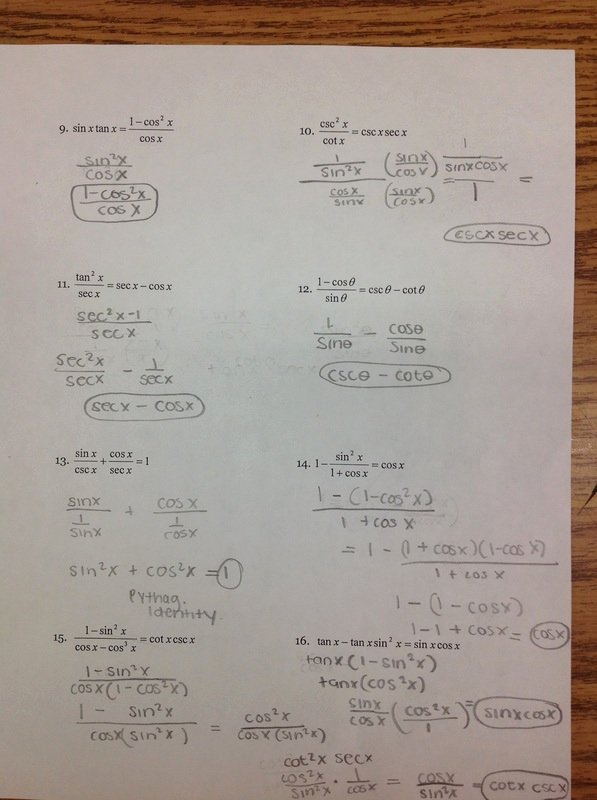 Trig Identities Worksheet with Answers Beautiful Chapter 5 2 Verifying Trig Identities Ms Wilson S