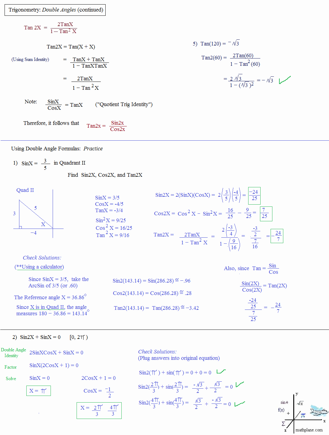 Trig Identities Worksheet with Answers Elegant Math Plane Trig Identities Ii Double Angles