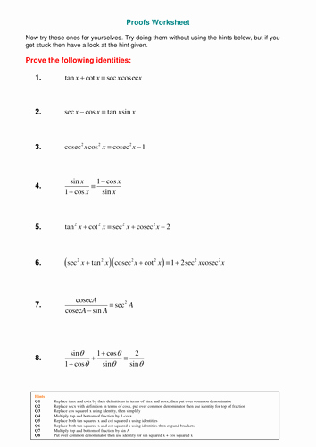 Trig Identities Worksheet with Answers Fresh A Level Maths Reciprocal Trig Functions Worksheet by