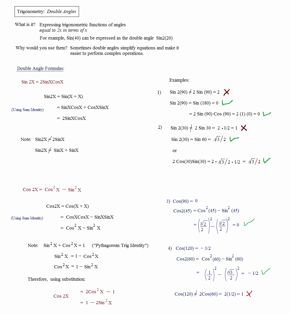 Trig Identities Worksheet with Answers Fresh Math Plane Trig Identities Ii Double Angles