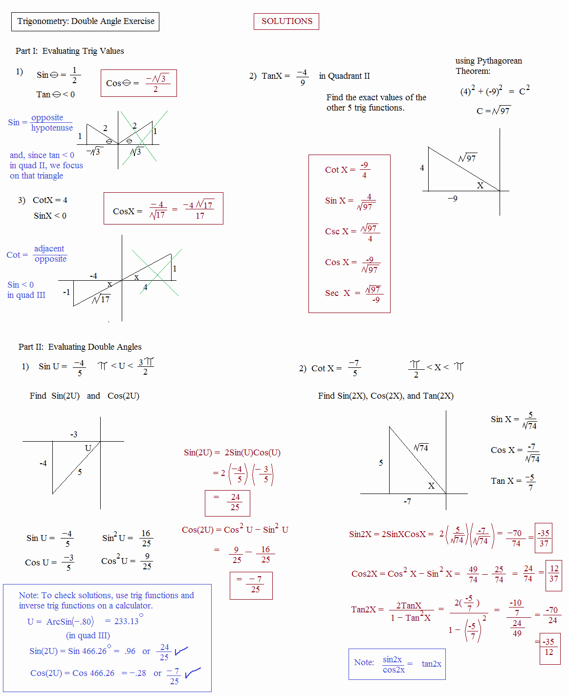 Trig Identities Worksheet with Answers Inspirational Math Plane Trig Identities Ii Double Angles