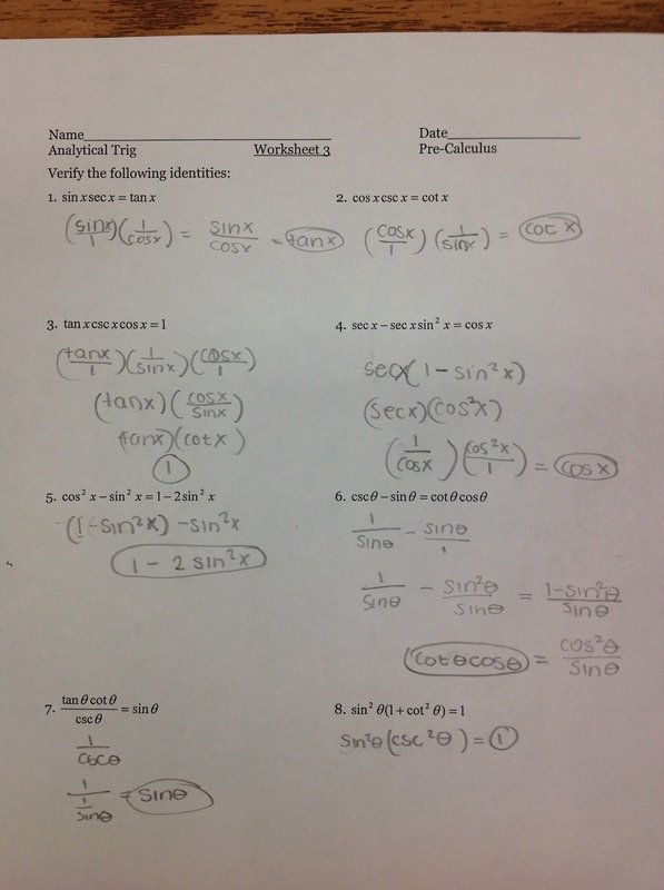 Trig Identities Worksheet with Answers Lovely Chapter 5 2 Verifying Trig Identities Ms Wilson S
