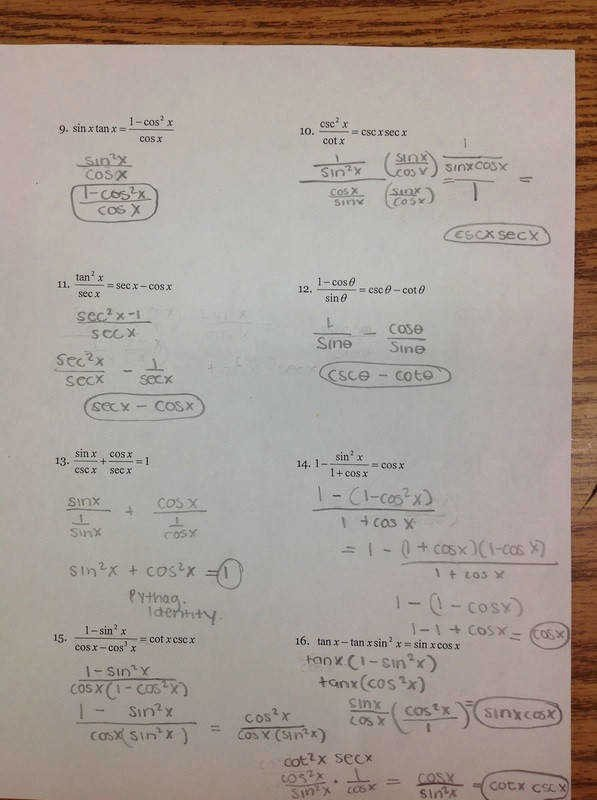 Trig Identities Worksheet with Answers Lovely Verifying Trigonometric Identities Worksheet