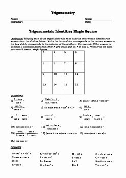Trig Identities Worksheet with Answers New Trigonometry Identity Magic Square Activity by Math Guru