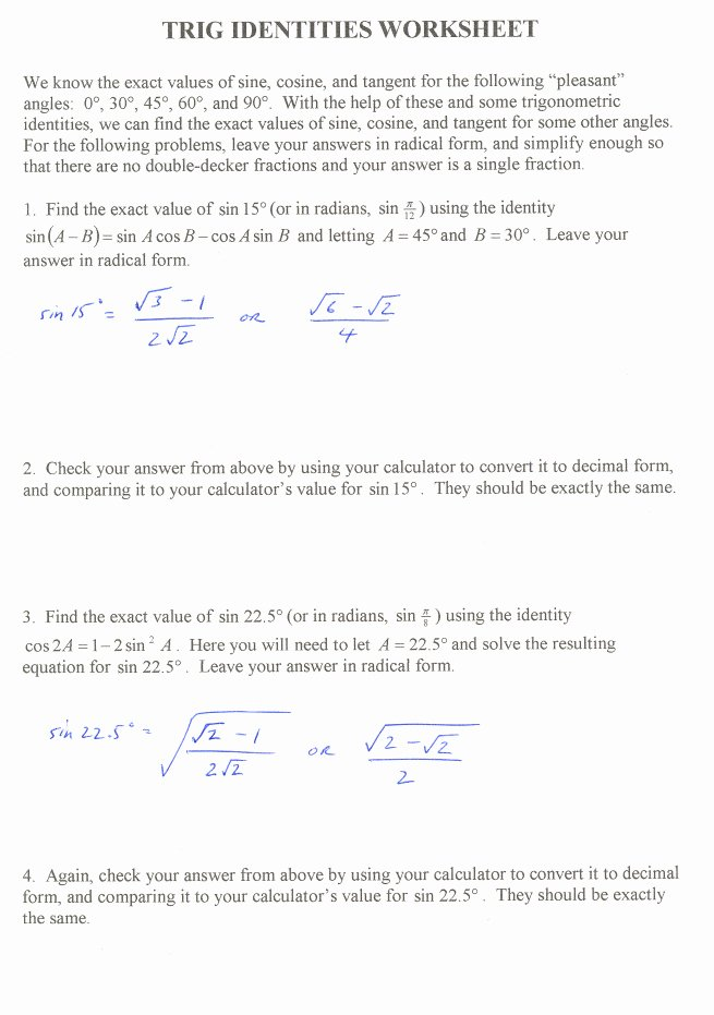 Trig Identities Worksheet with Answers Unique Trig Identities Worksheet