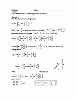 Trig Identities Worksheet with Answers Unique Trigonometry Sum and Difference Identities with Inverse