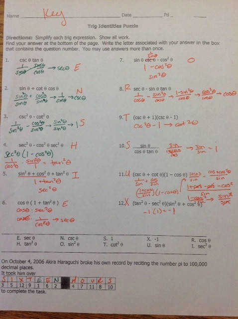 Trig Identities Worksheet with Answers Unique Verifying Trigonometric Identities Worksheet