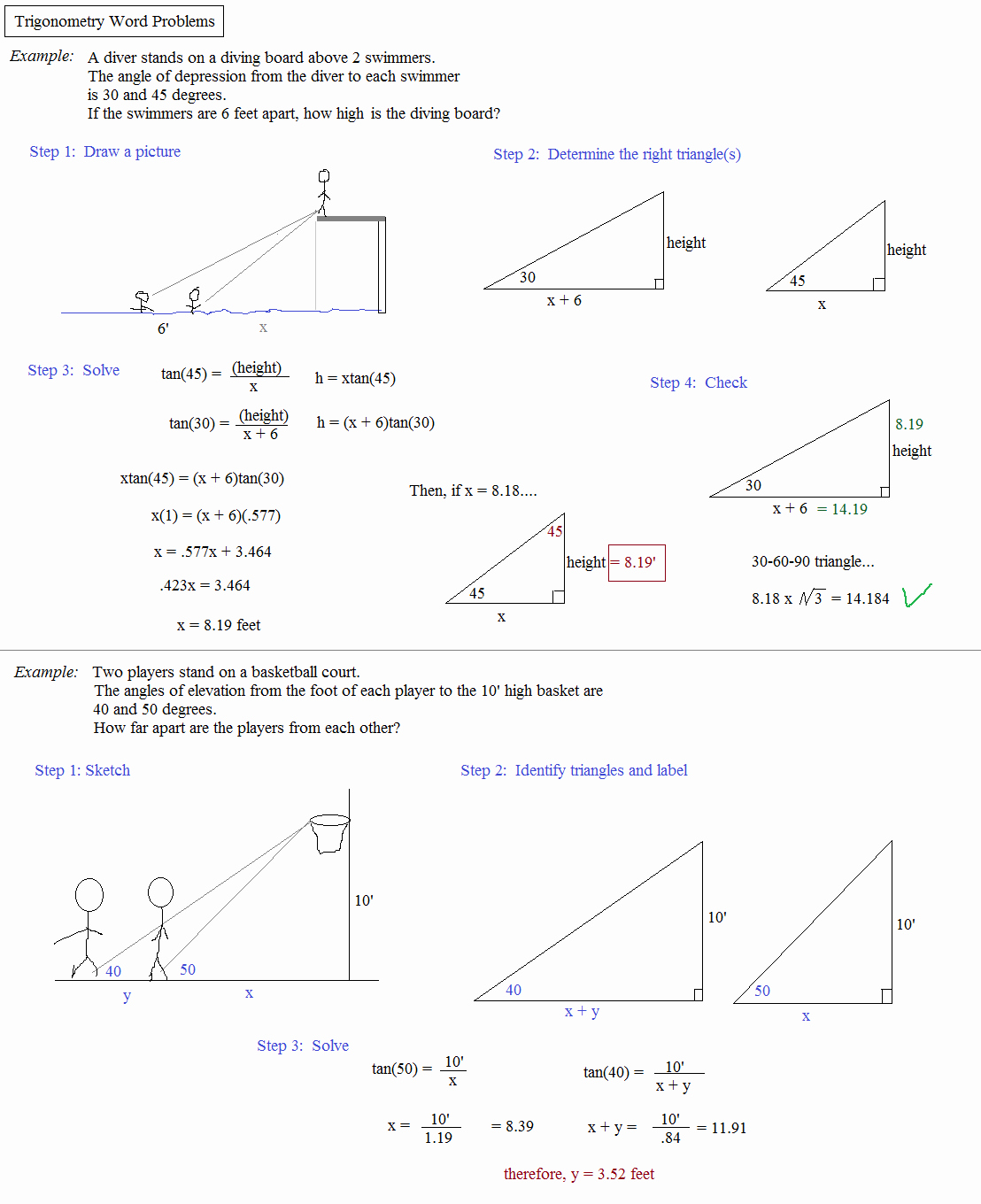 Trig Word Problems Worksheet Answers Awesome Math Plane Trigonometry Word Problems