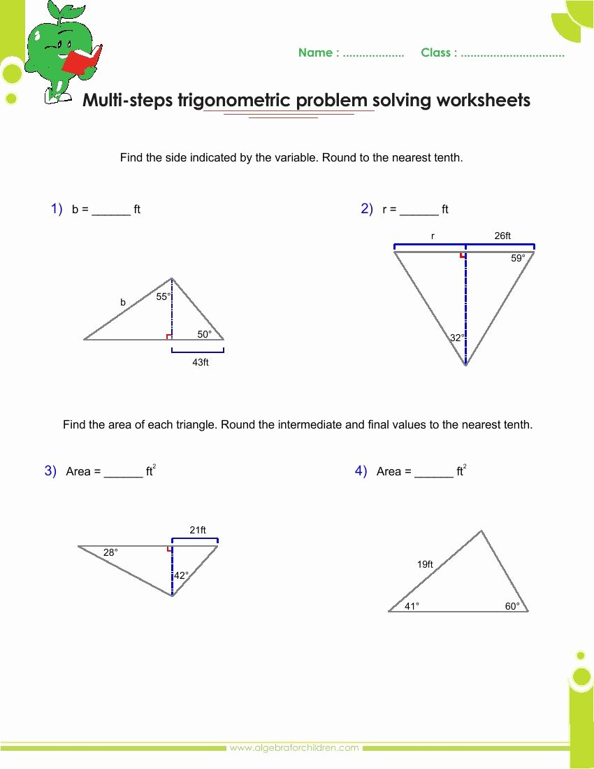 Trig Word Problems Worksheet Answers Beautiful Basics Trigonometry Problems and Answers Pdf for Grade 10