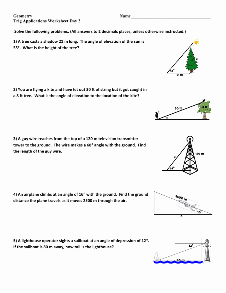 Trig Word Problems Worksheet Answers Elegant Trig Applications Ws Day 2 Geo 14