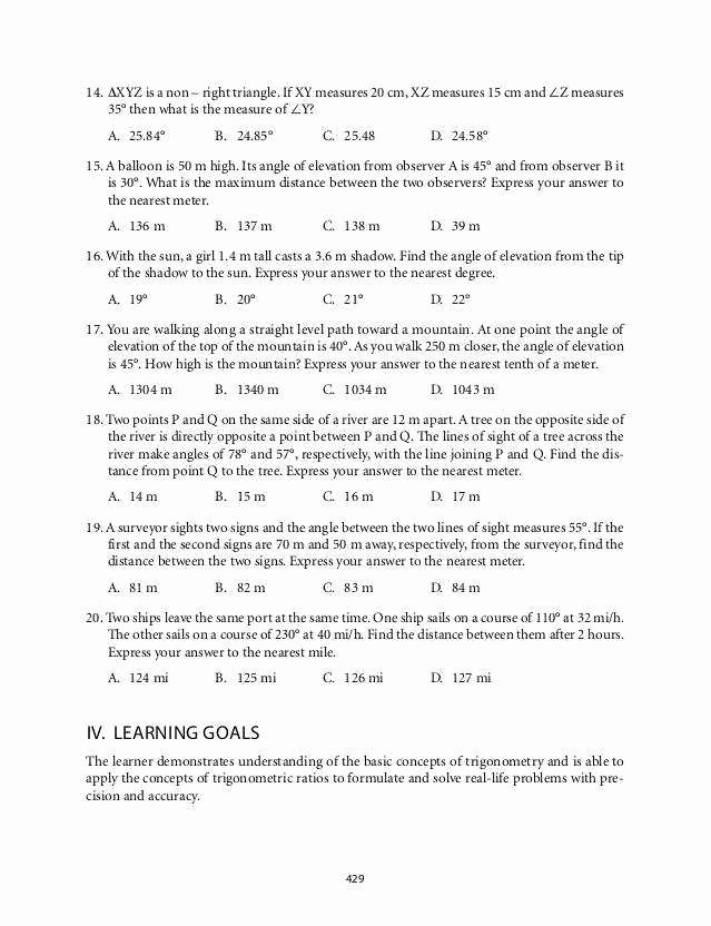 Trig Word Problems Worksheet Answers Elegant Trig Word Problems Worksheet