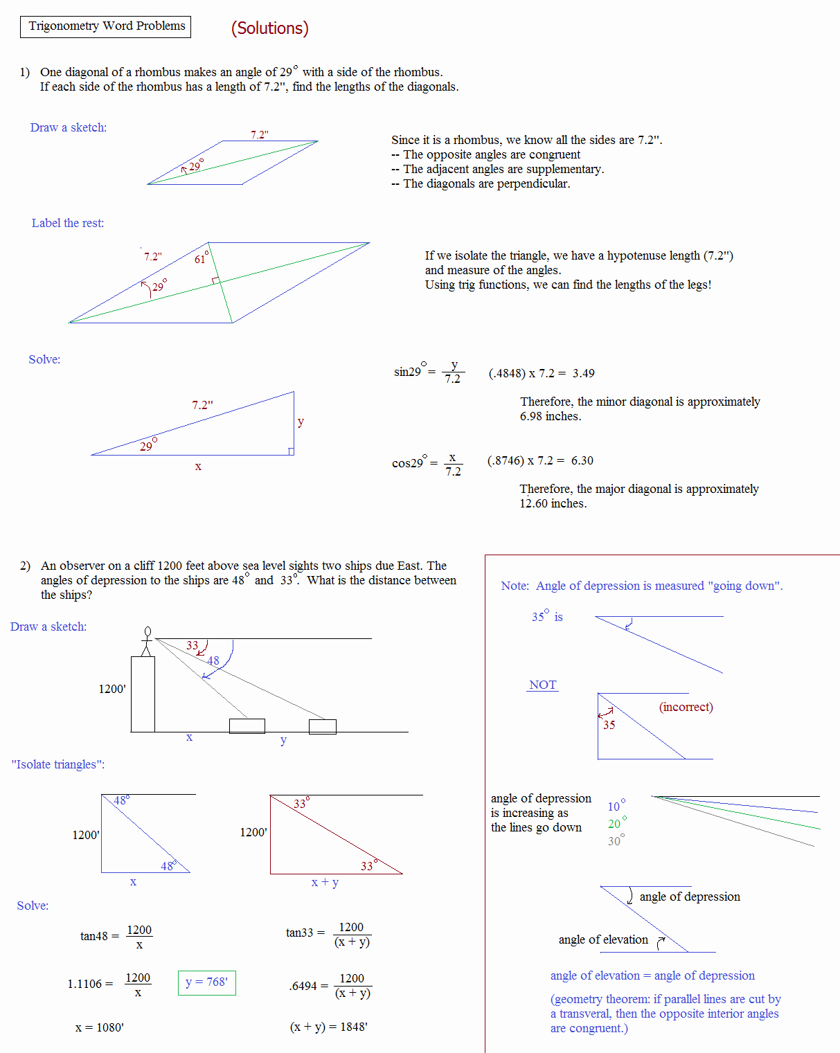 Trig Word Problems Worksheet Answers Inspirational Math Plane Trigonometry Word Problems