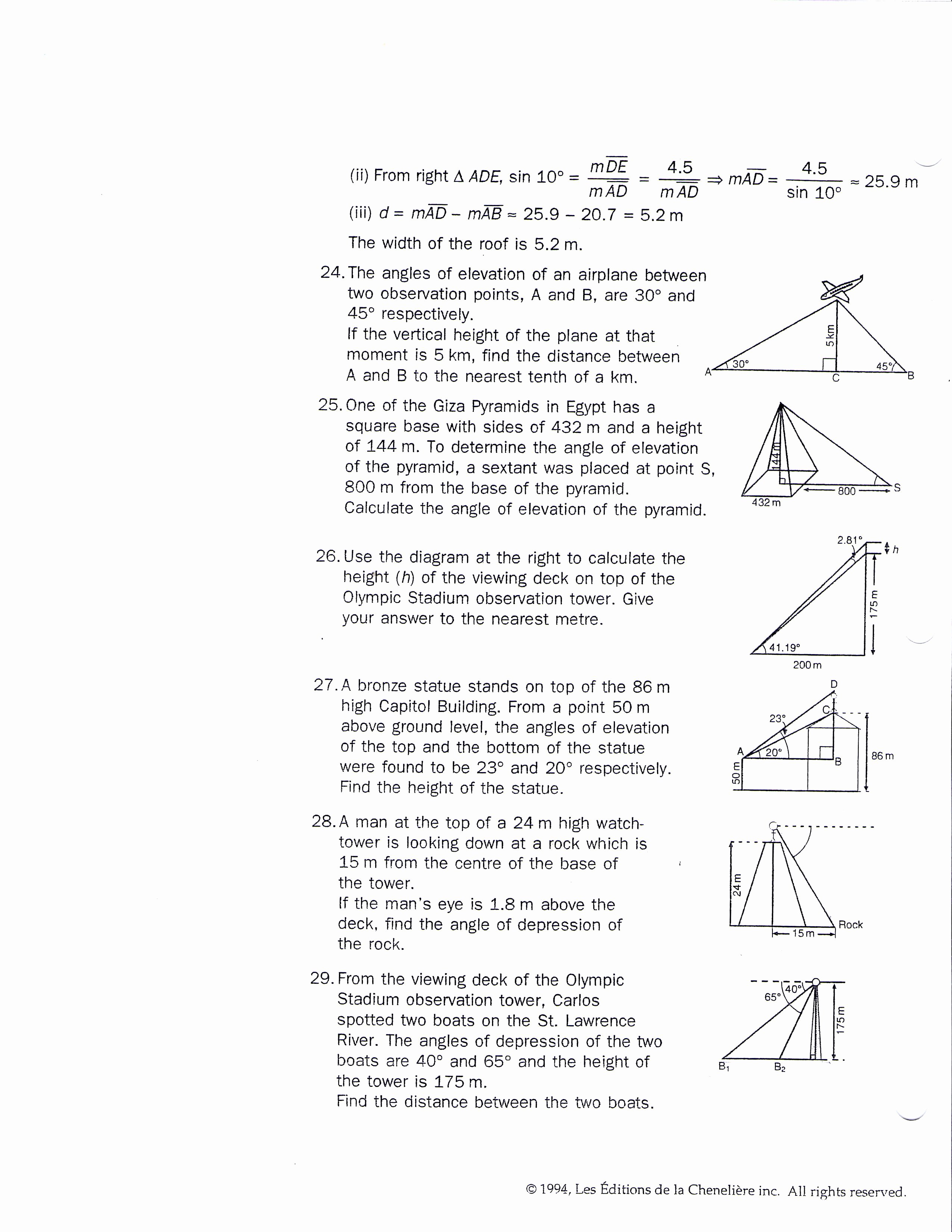 Trig Word Problems Worksheet Answers Luxury Mrsmartinmath [licensed for Non Mercial Use Only