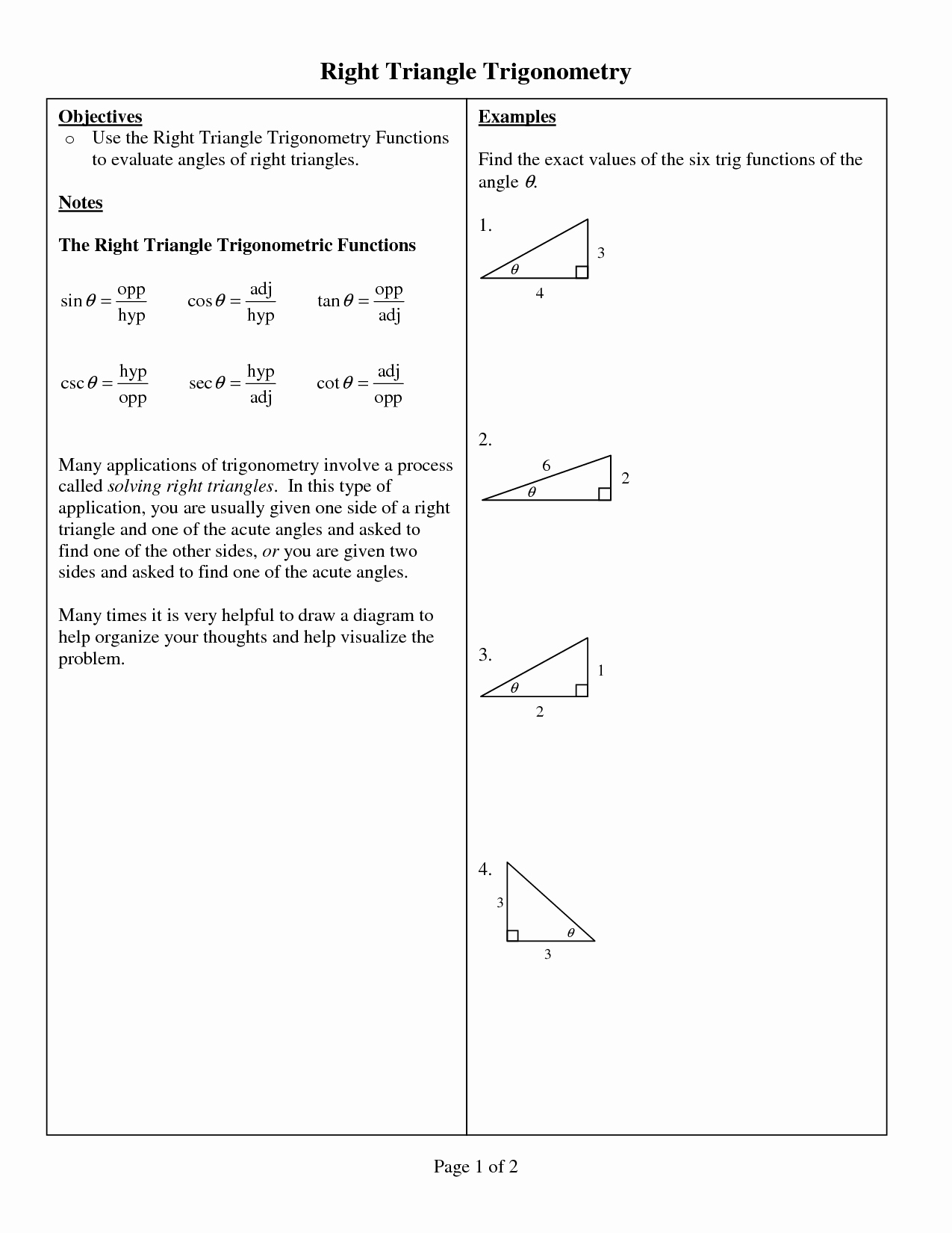 Trig Word Problems Worksheet Answers Unique 11 Best Of Right Triangle Trigonometry Worksheet