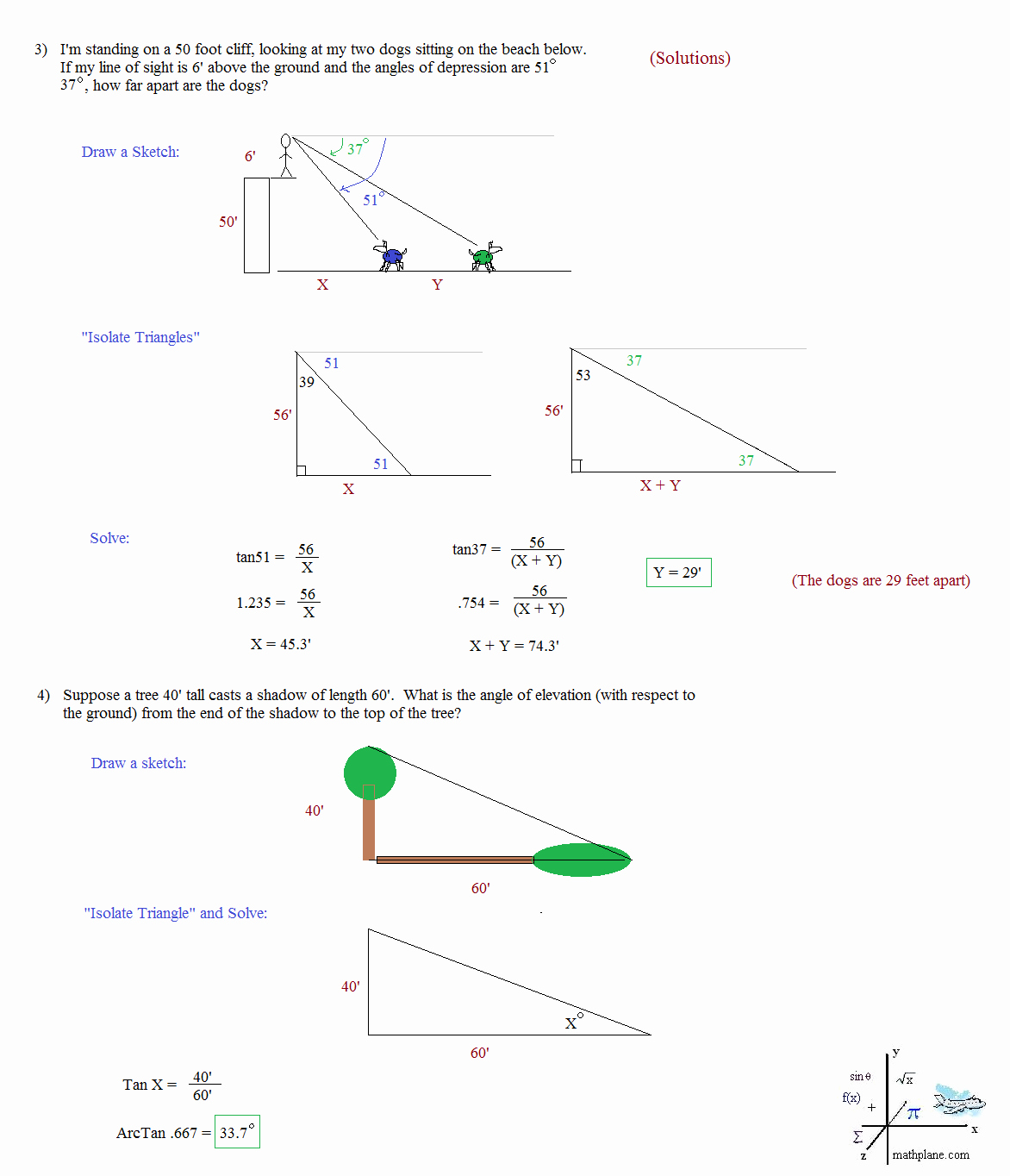 Trig Word Problems Worksheet Answers Unique Math Plane Trigonometry Word Problems