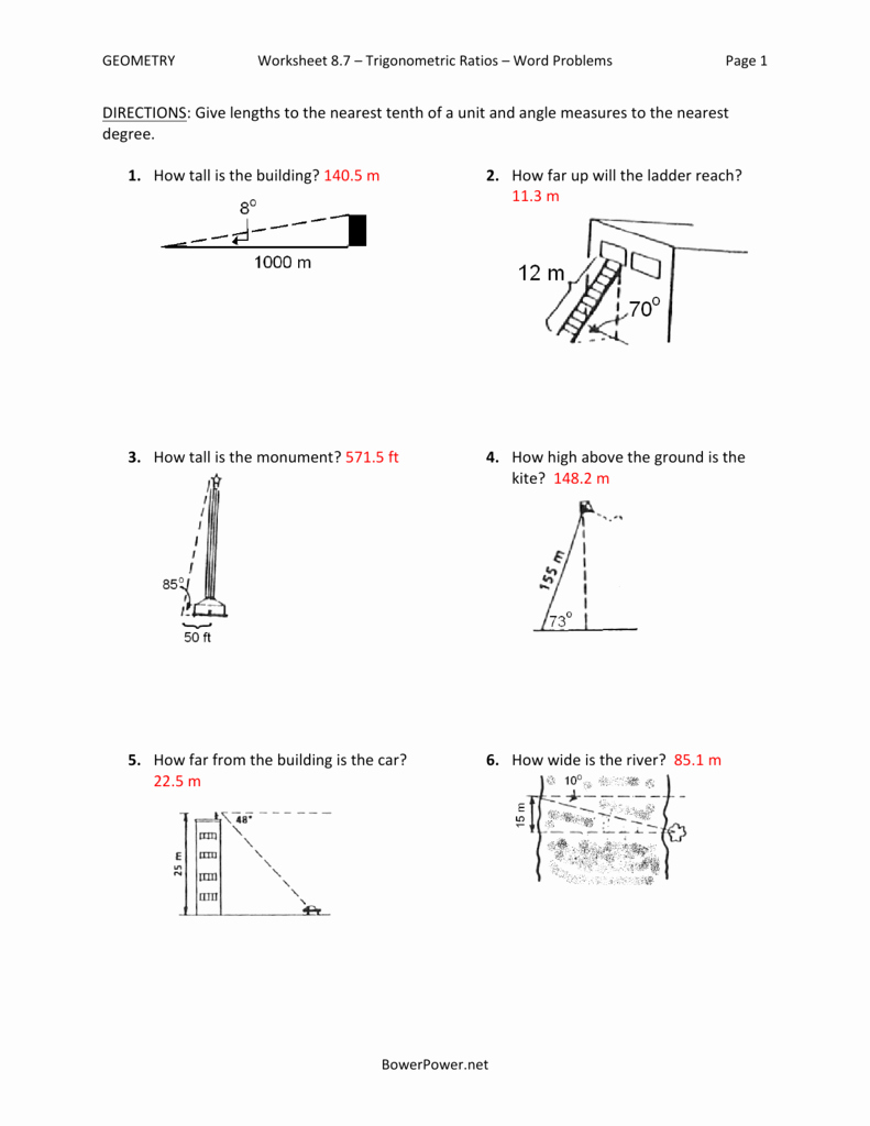 Trig Word Problems Worksheet Luxury Worksheet 8 7 Trigonometric Ratios Word