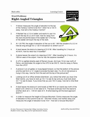 Trig Word Problems Worksheet New Right Triangle Trigonometry Word Problems Worksheet the
