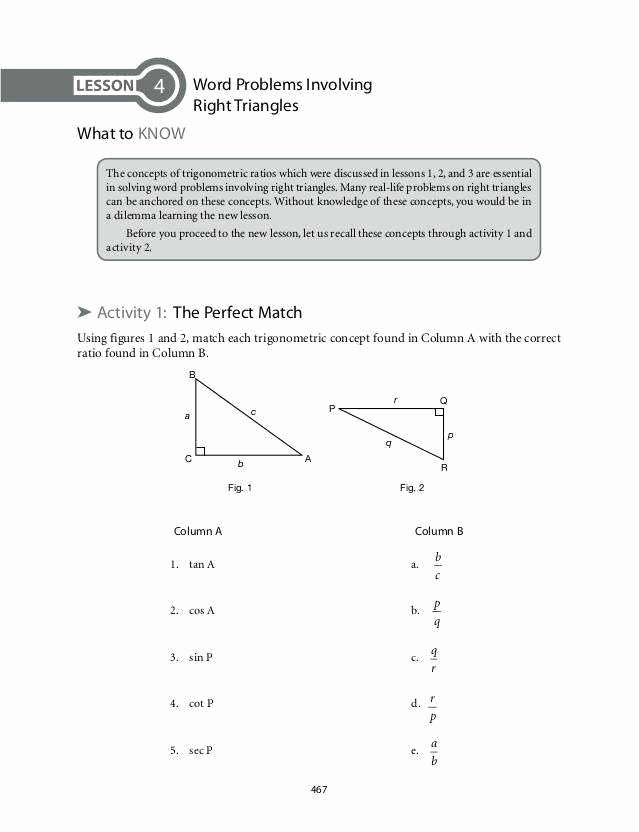 Trig Word Problems Worksheet New Trig Word Problems Worksheet