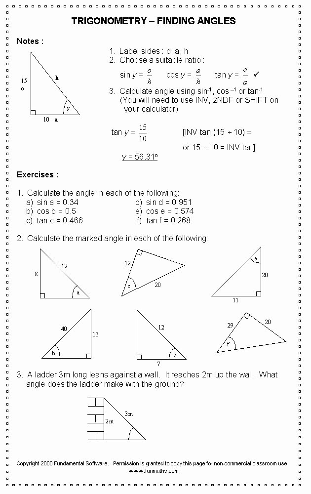 Trig Word Problems Worksheet New Trig Worksheets