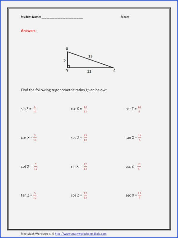 Trigonometric Ratios Worksheet Answers Best Of Trigonometric Ratios Worksheet Answers