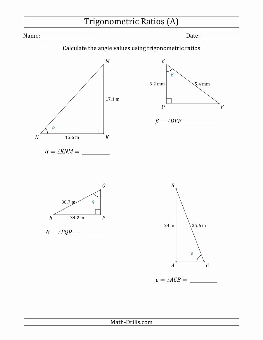 Trigonometric Ratios Worksheet Answers Elegant Calculating Angle Values Using Trigonometric Ratios A