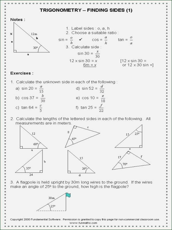 Trigonometric Ratios Worksheet Answers Inspirational Trigonometric Ratios Worksheet Answers