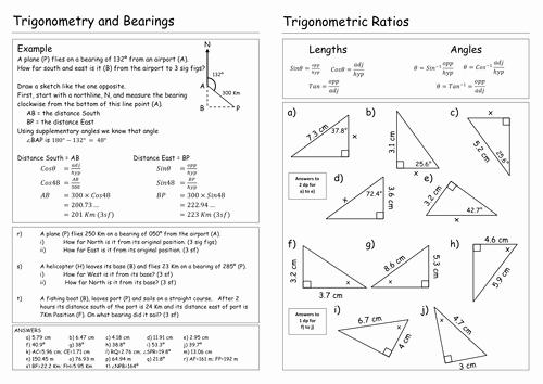 Trigonometric Ratios Worksheet Answers Inspirational Trigonometry Worksheet by Pebsy