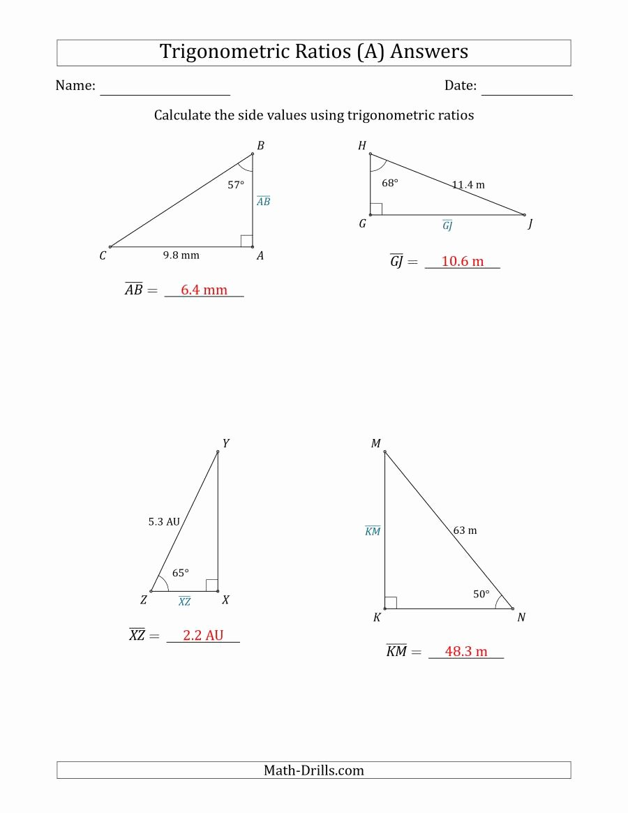 Trigonometric Ratios Worksheet Answers Lovely Calculating Side Values Using Trigonometric Ratios A