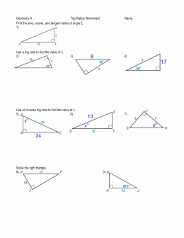 Trigonometric Ratios Worksheet Answers Luxury Angles Of Elevation and Depression