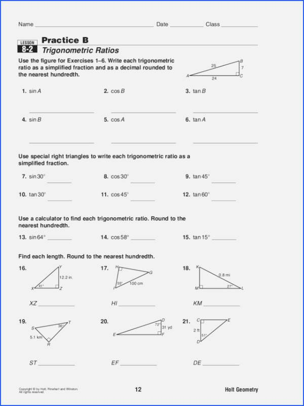 Trigonometric Ratios Worksheet Answers Luxury Trigonometric Ratios Worksheet Answers
