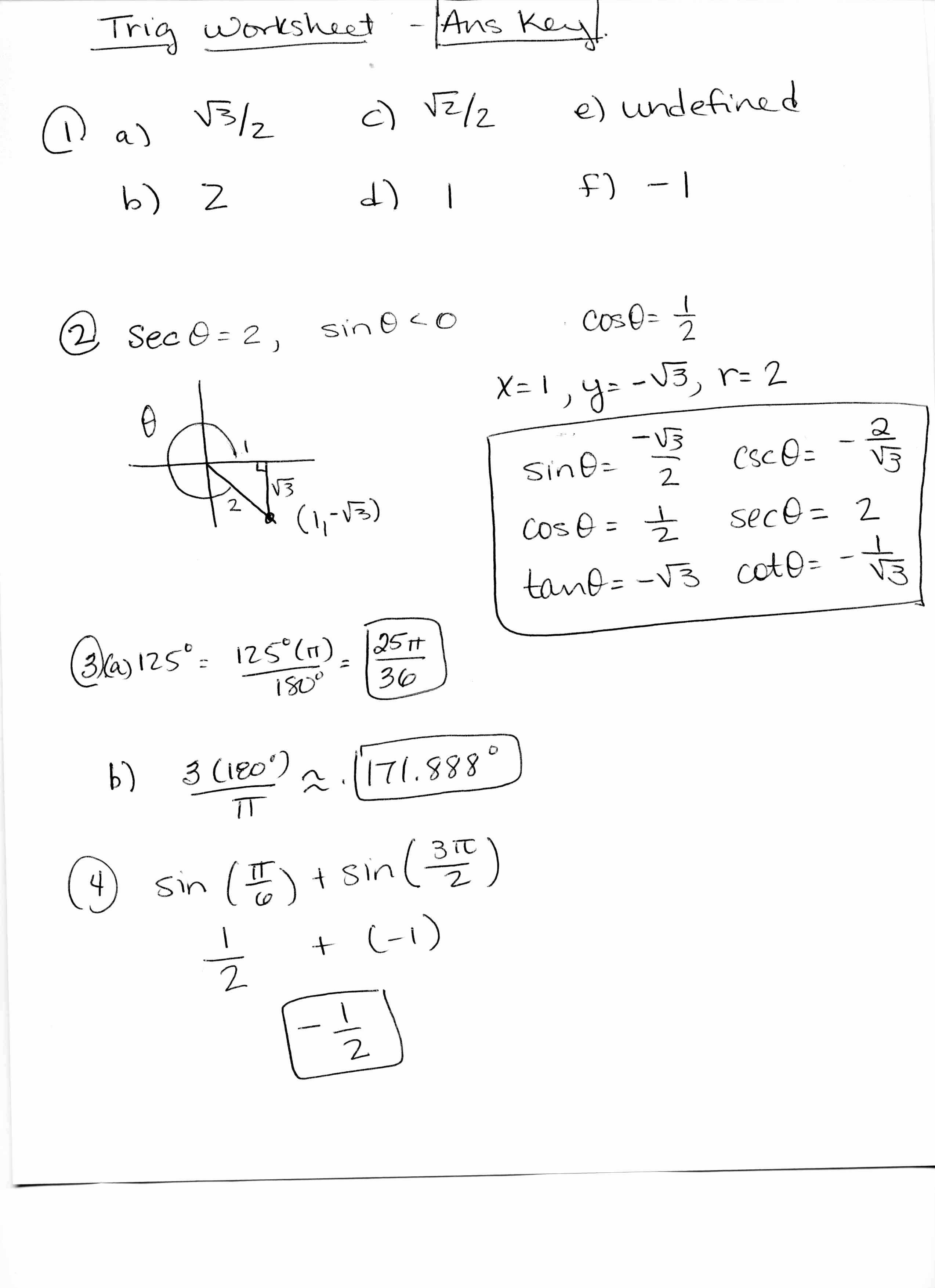 Trigonometry Unit Circle Worksheet Answers Beautiful Trigonometry Ratios Worksheet Answers